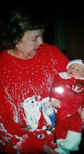 Grandma Margaret holds her great grandson, Luke Robert, 2003